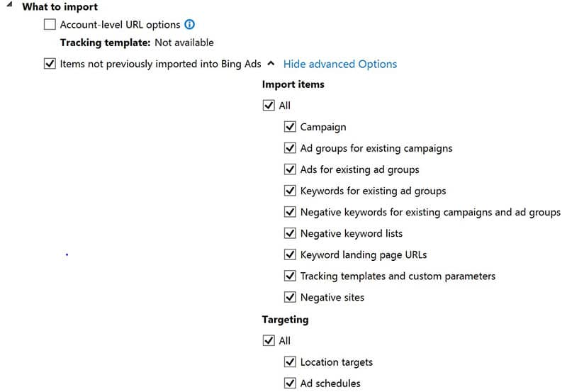 option avancees import bing ads