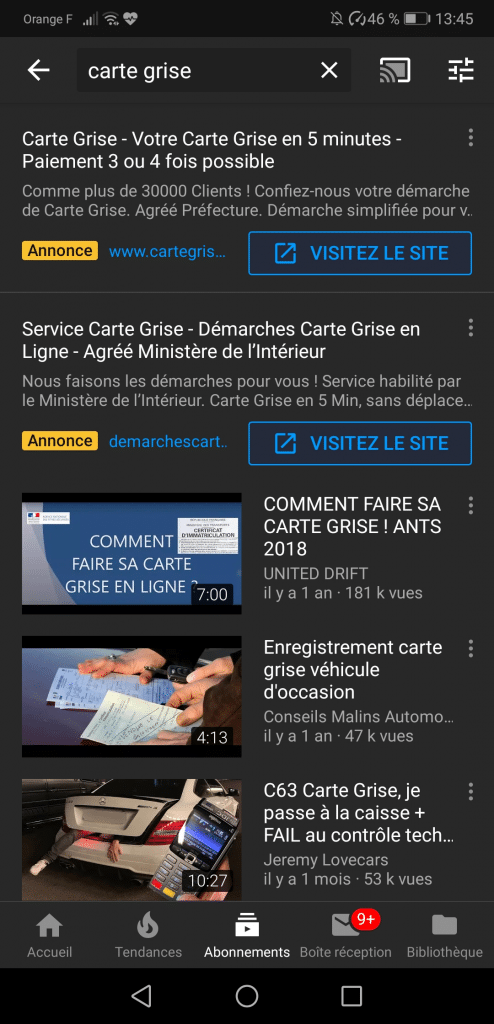 annonce textuelle youtube