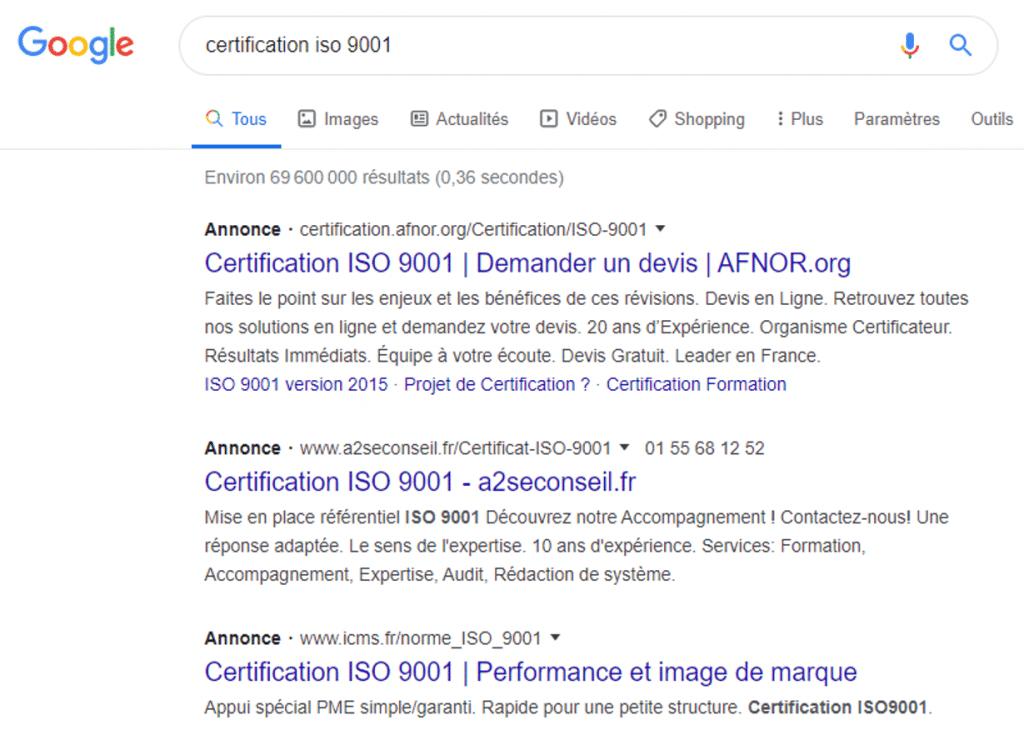 affichage google